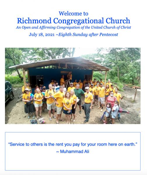 Bulletin for Worship 7/18/21